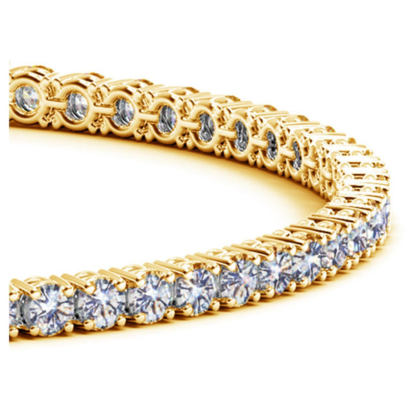 14k Yellow Gold Round Diamond Tennis Bracelet (5 cttw) - Drip Brother