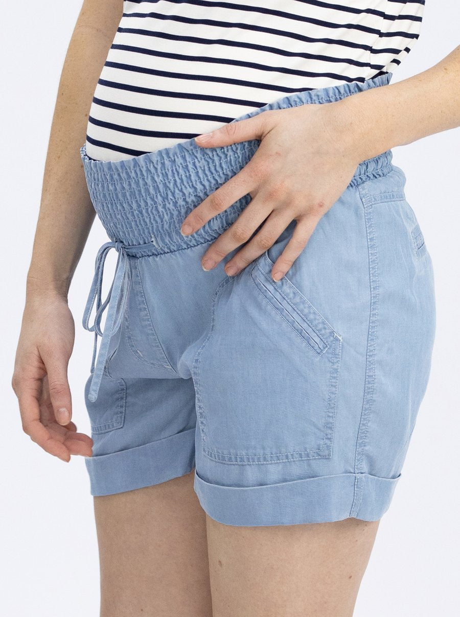 Chambray Maternity Shorts