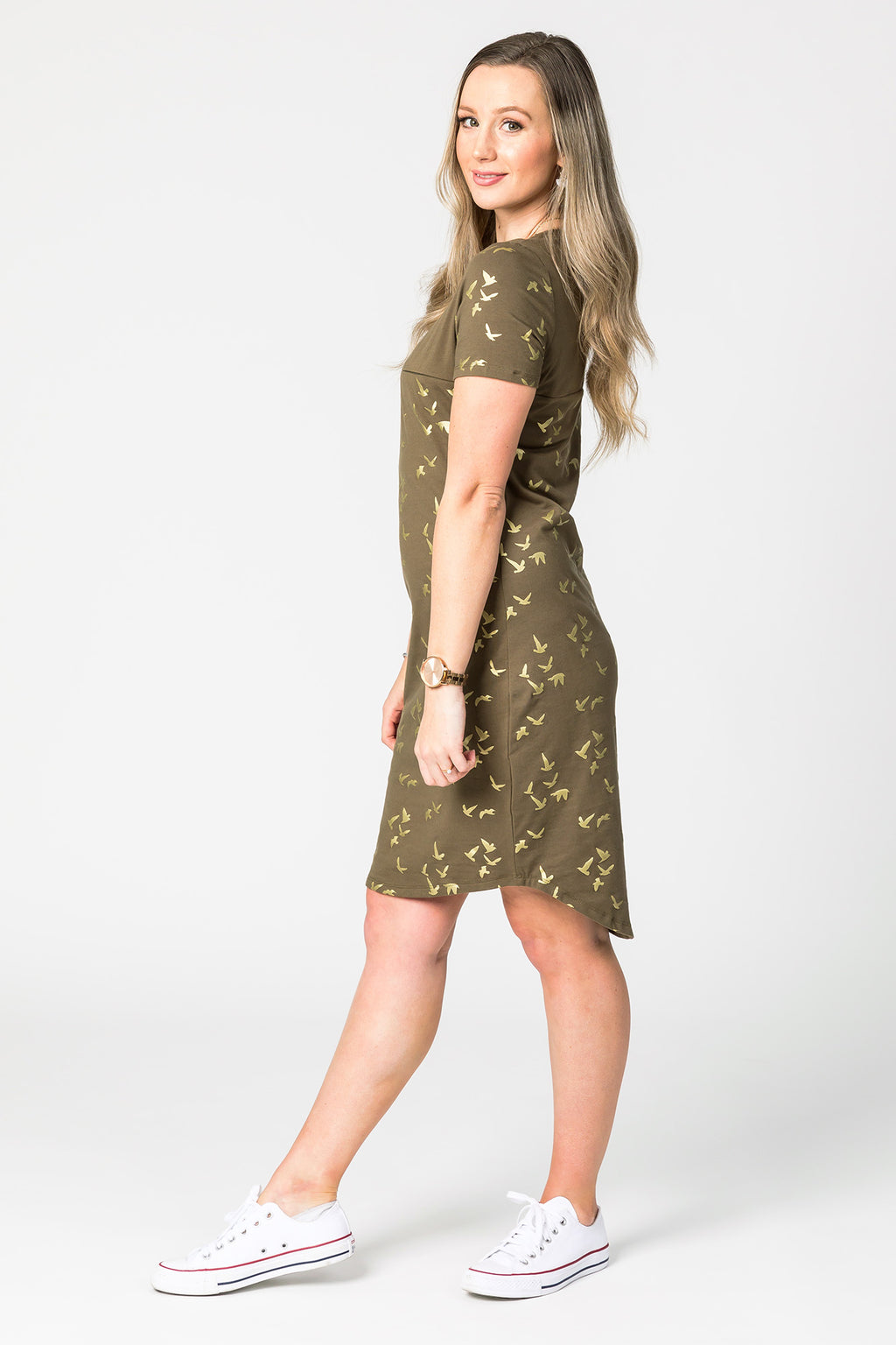 Gold Foil Birds Printed Dress - Non Breastfeeding