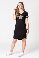 Animal Print Star Applique Breastfeeding Dress
