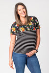 Tilly Stripe & Floral Short Sleeve Breastfeeding Top