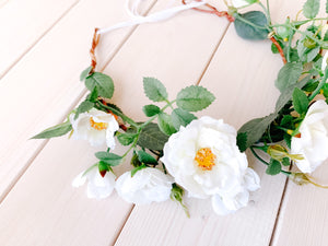 Rosa Flower Crown in Cream White