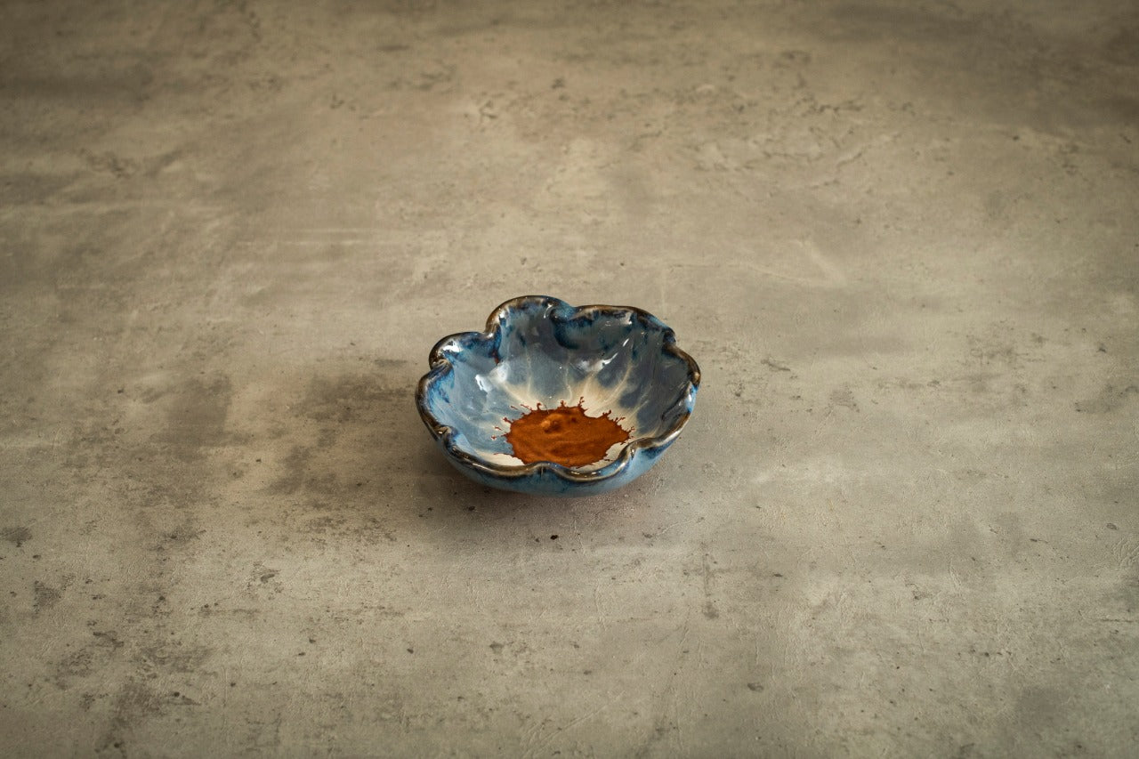 A Tiny Mistake Studio Ceramic Snack Bowl Mustard and Blue Hues, Nut Bowl