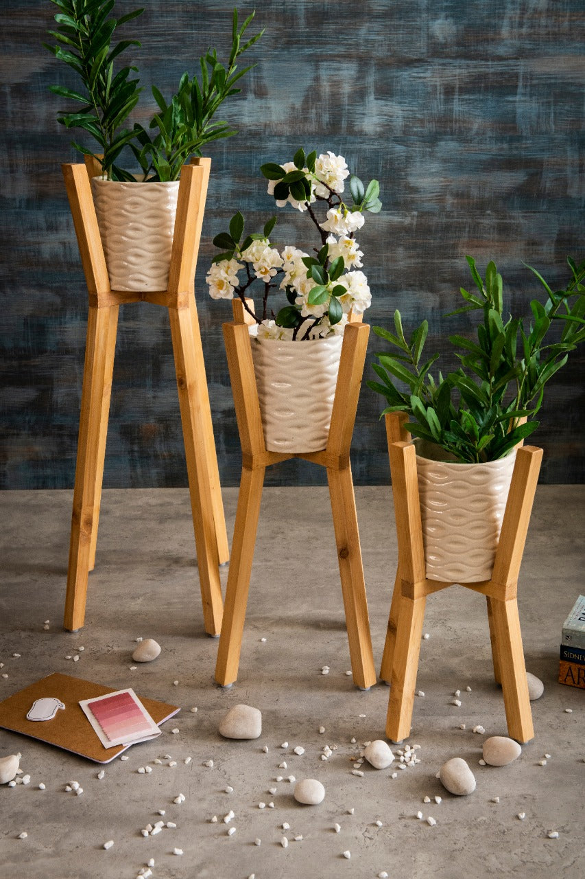 Three Wooden Planter Stands with Ceramic Pots