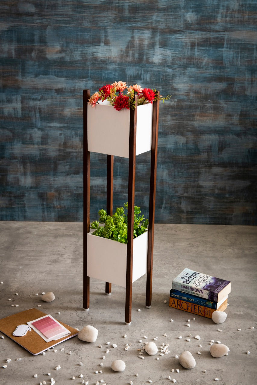 Wooden Planter Stand at Two Levels