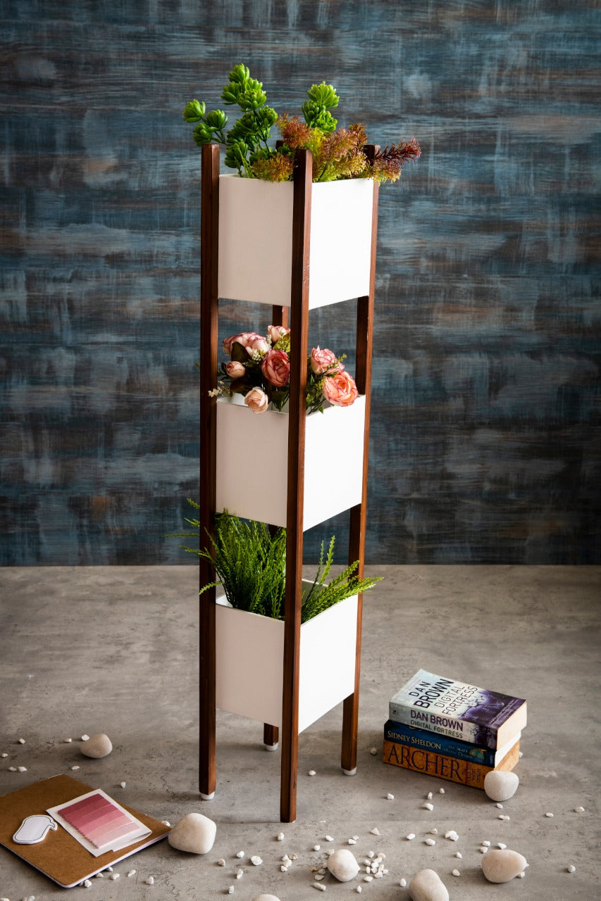 Wooden Planter Stand at Three Levels