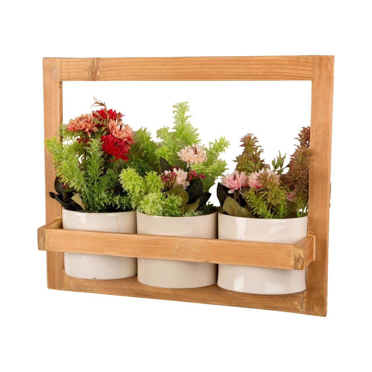 Hanging Wooden Planters with Ceramic Pots