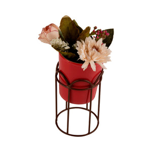 Red Ceramic and Metal Planter