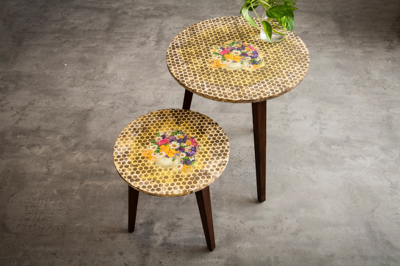 A Tiny Mistake Honeycomb Pattern Wooden Nesting Tables (Set of 2), Living Room Decor