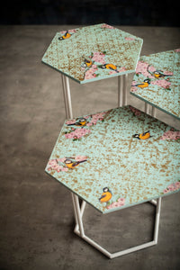 A Tiny Mistake Blue Birds Hex Table (Set of 3)