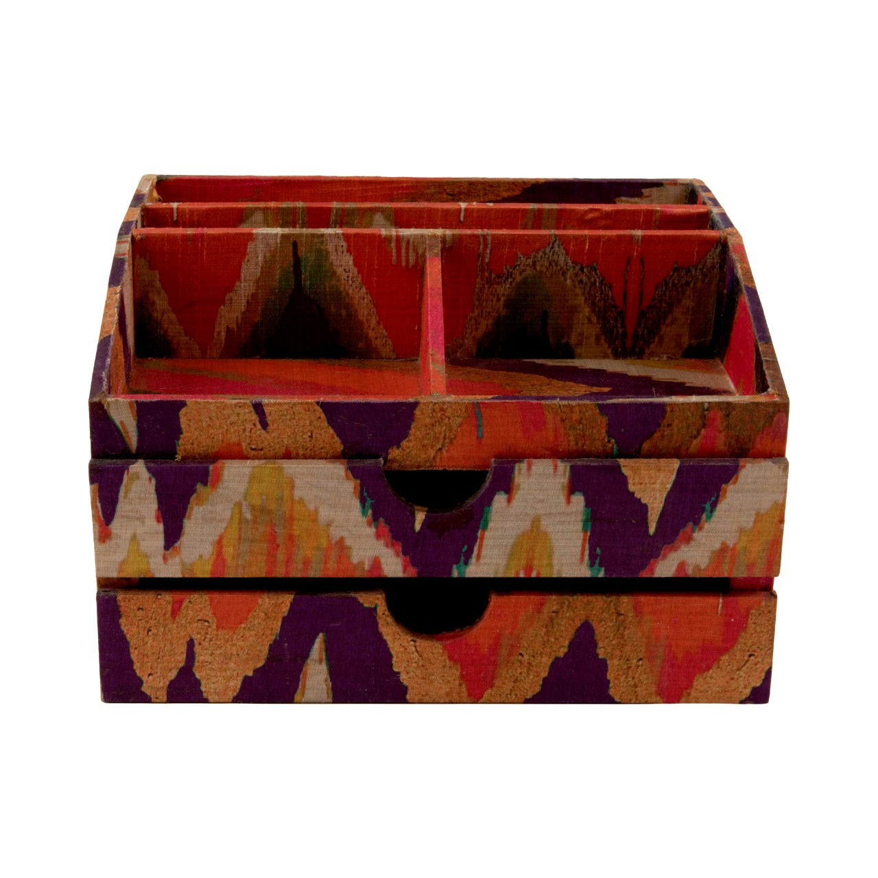 A Tiny Mistake Colourful Ikat Pattern Medium Make up Organiser, Vanity Box, Dressing Table Decor, Make Up Box