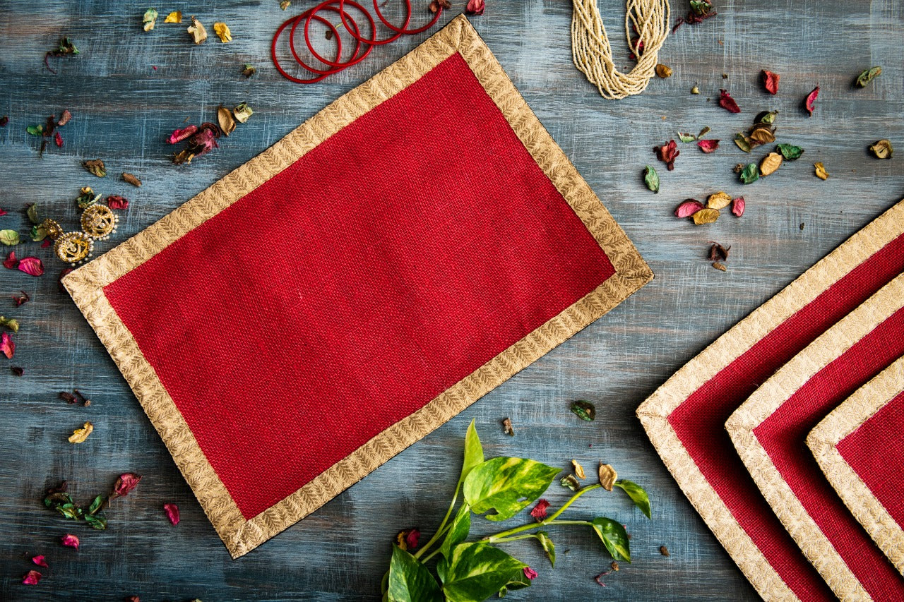 A Tiny Mistake Set of 4 Gold Leaf Border on Red Stiff Jute Picnic Mats