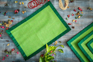 A Tiny Mistake Set of 4 Green Border on Green Stiff Jute Picnic Mats