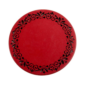 A Tiny Mistake Red Round Wooden Coasters (Set of 4), 7.5 x 7.5 x 0.5 cm