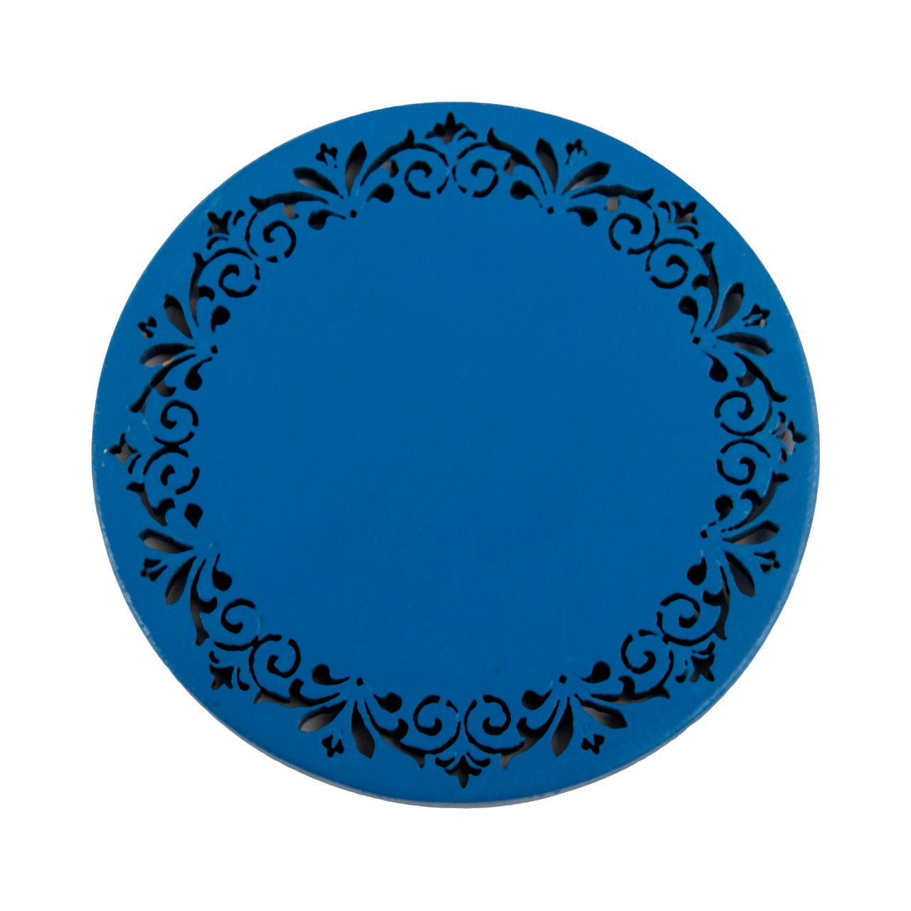 A Tiny Mistake Blue Round Wooden Coasters (Set of 4), 7.5 x 7.5 x 0.5 cm