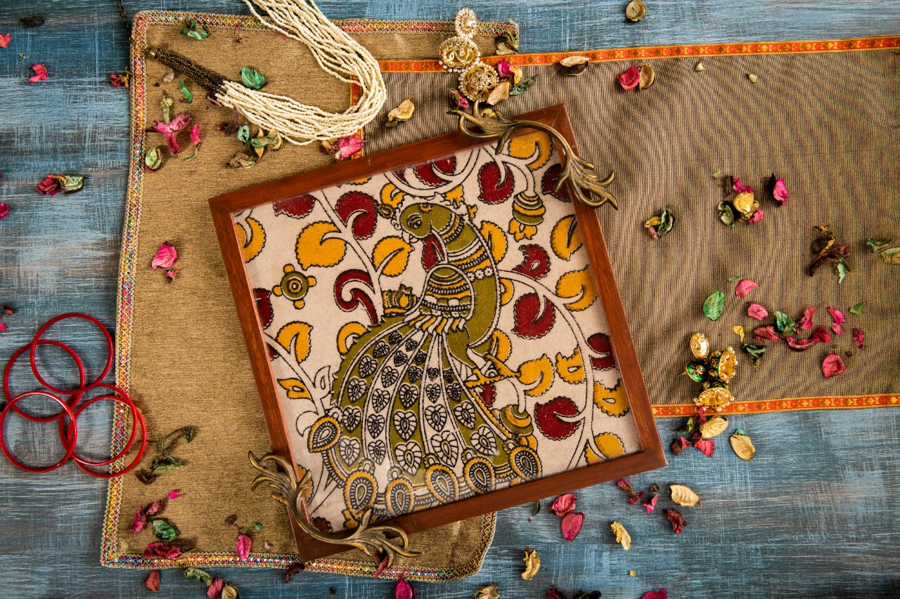 A Tiny Mistake Kalamkari Peacock on a Flower Branch Square Tray with Brass Handle Serving Tray
