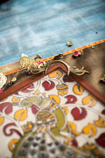 Load image into Gallery viewer, A Tiny Mistake Kalamkari Peacock on a Flower Branch Square Tray with Brass Handle Serving Tray