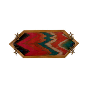 A Tiny Mistake Vibrant Ikat Print Diamond Shaped Teak Serving Tray with Brass Handle, Tray for Serving Tea and Snacks, 49 x 20 x 2 cm