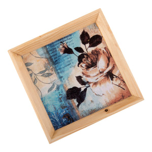A Tiny Mistake Blue Floral Pattern Wooden Serving Tray, 18cm x 18cm x 2cm