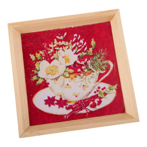 A Tiny Mistake Tea Cup Full of Flowers Small Square Wooden Serving Tray, 18 x 18 x 2 cm