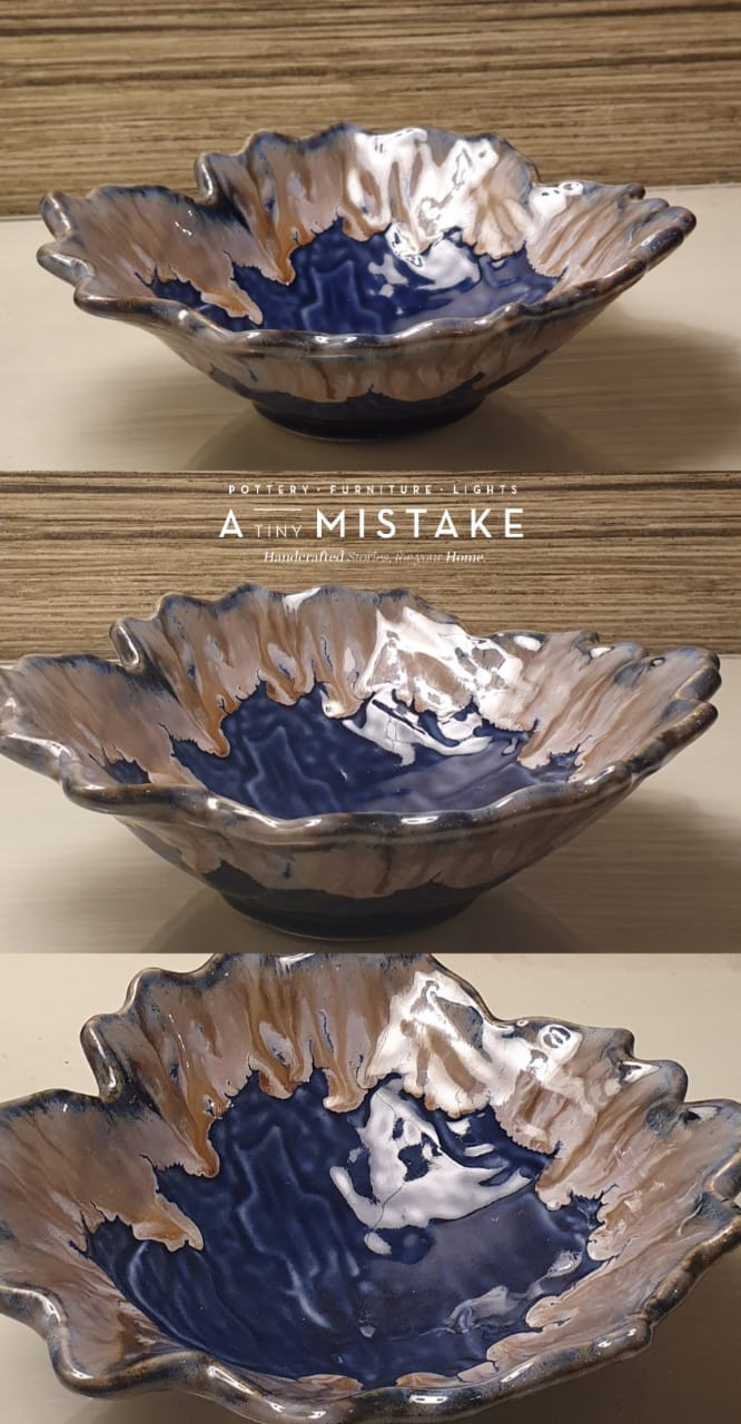 A Tiny Mistake Blue Uneven Decorative Ceramic Serving Bowl