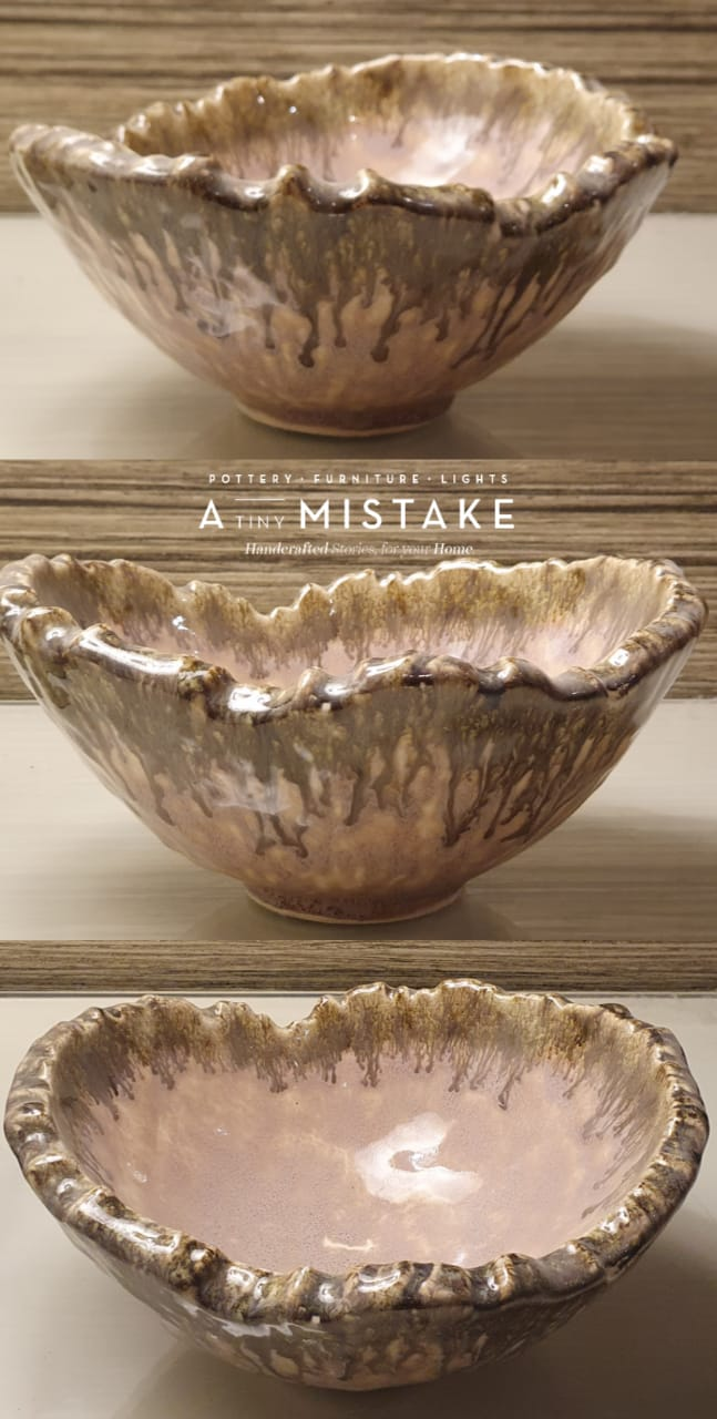 A Tiny Mistake Pink Decorative Round Ceramic Serving Bowl