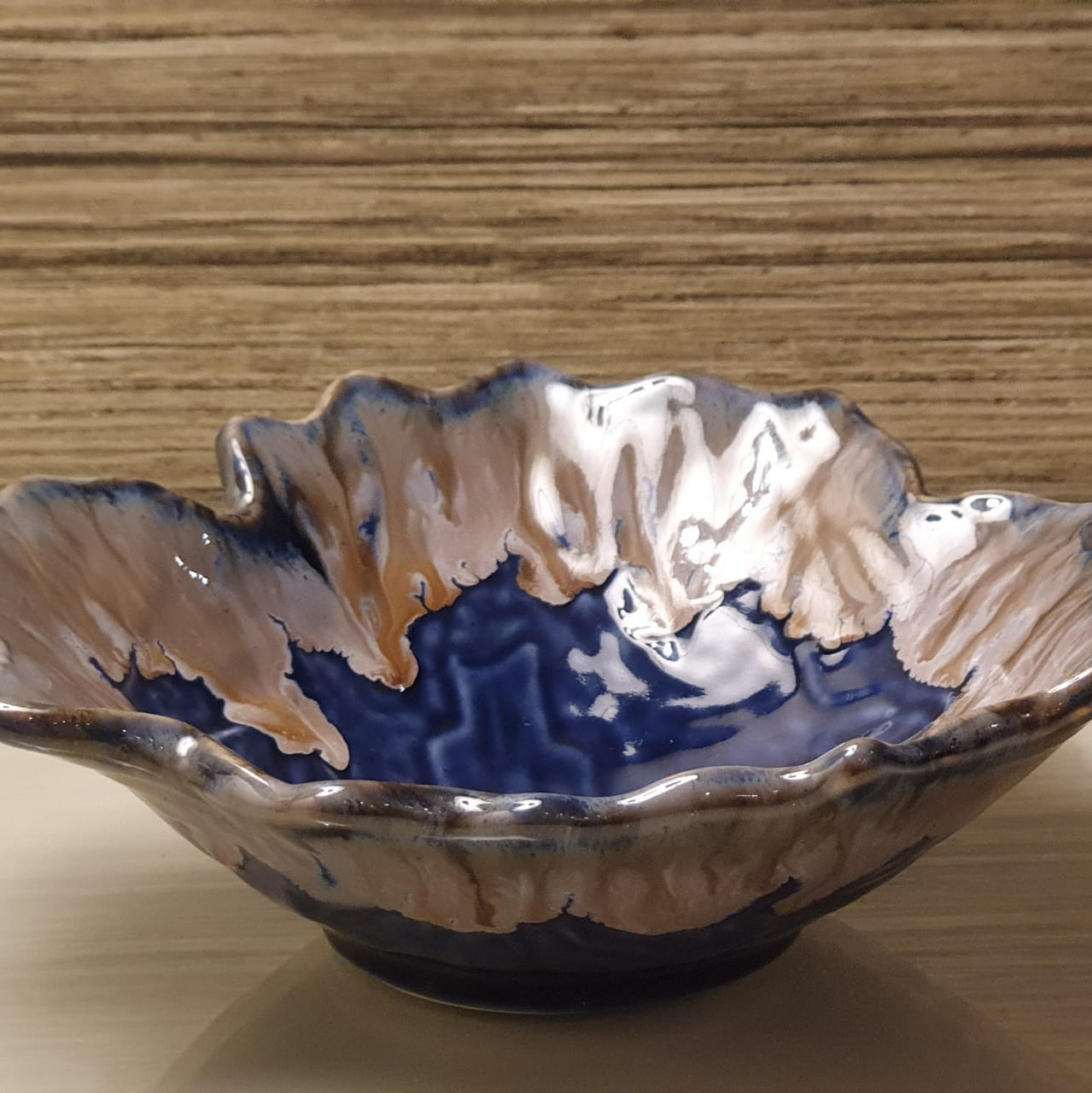 A Tiny Mistake Blue Uneven Decorative Ceramic Serving Bowl A Tiny Mistake Online Store