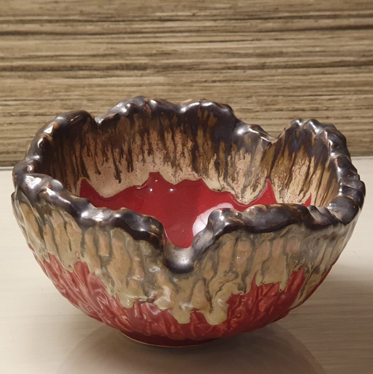 A Tiny Mistake Red Decorative Small Ceramic Serving Bowl