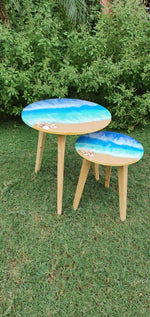 Load image into Gallery viewer, A Tiny Mistake Ocean Pour Nesting Tables (Set of 2), Living Room Decor