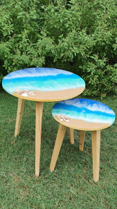 A Tiny Mistake Ocean Pour Nesting Tables (Set of 2), Living Room Decor