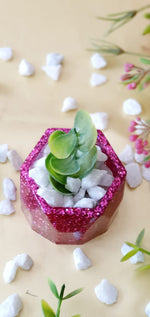 Load image into Gallery viewer, Pink Glitter Miniature Planter (Includes Stones and Artificial Plant Strand)