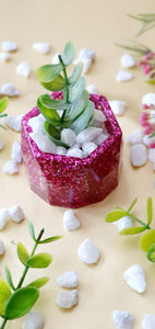 Pink Glitter Miniature Planter (Includes Stones and Artificial Plant Strand)