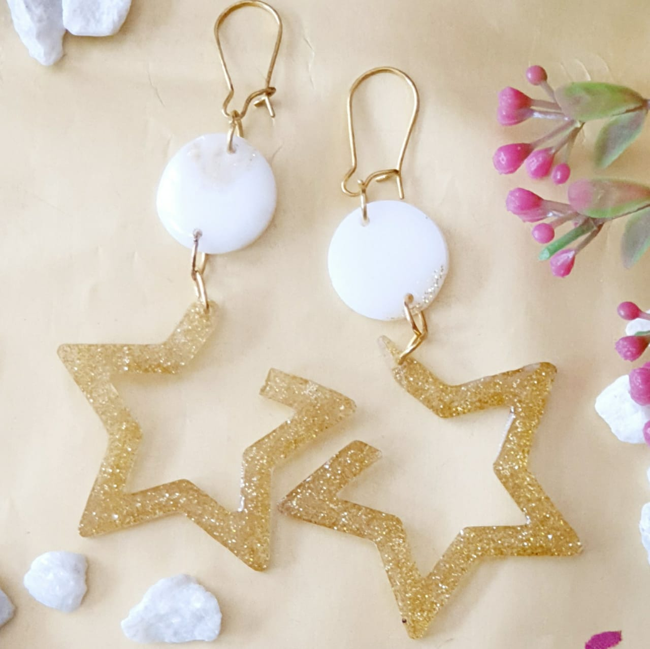White and Gold Star Earrings