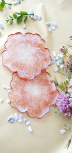 Load image into Gallery viewer, White and Copper Floral Coasters (Set of 2)