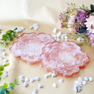 White and Copper Floral Coasters (Set of 2)
