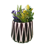 Load image into Gallery viewer, Zig Zag Lines Elegant Black Desk Planter, Outdoor and Indoor Planter, Ceramic Planter for Real Plants