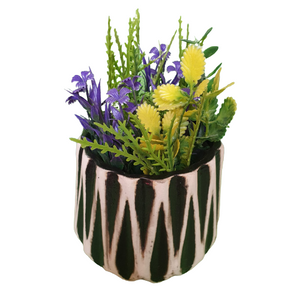 Zig Zag Lines Elegant Black Desk Planter, Outdoor and Indoor Planter, Ceramic Planter for Real Plants