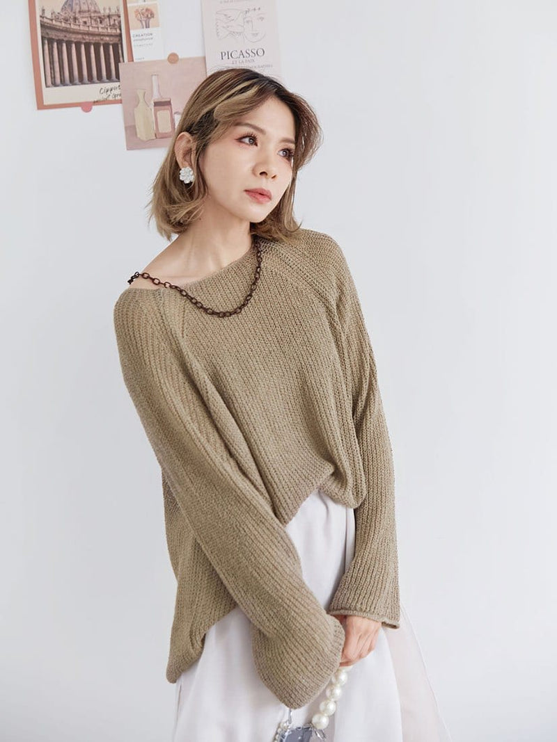 Knitted Chain Collar Top (2 Colours)