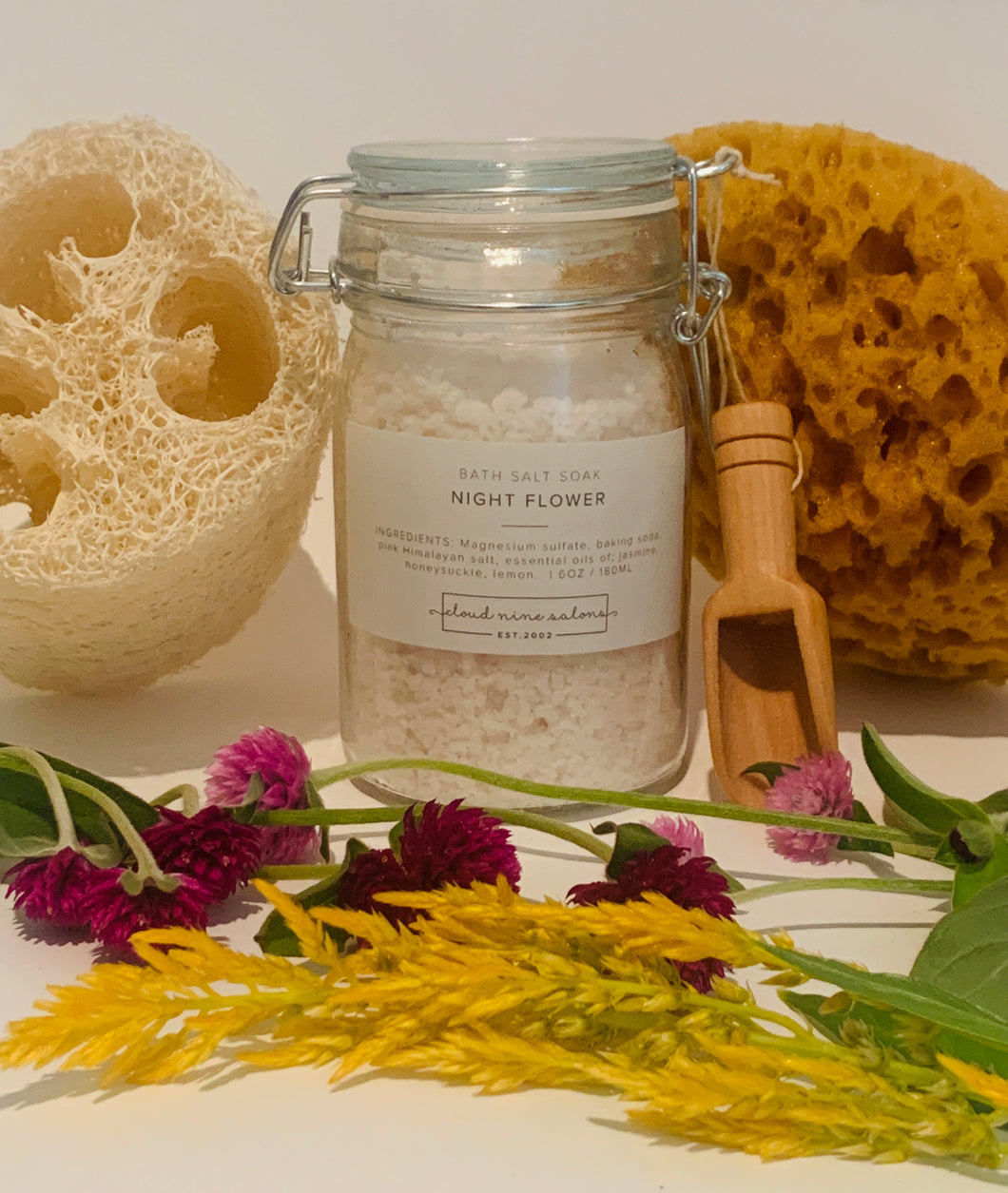 Night Flower bath salt soak Jasmine and honeysuckle