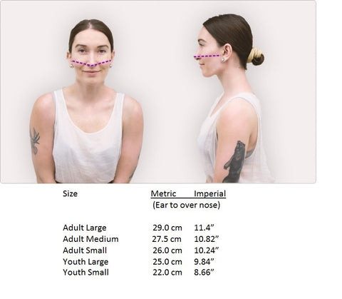 Double Knit Face Covering Size chart