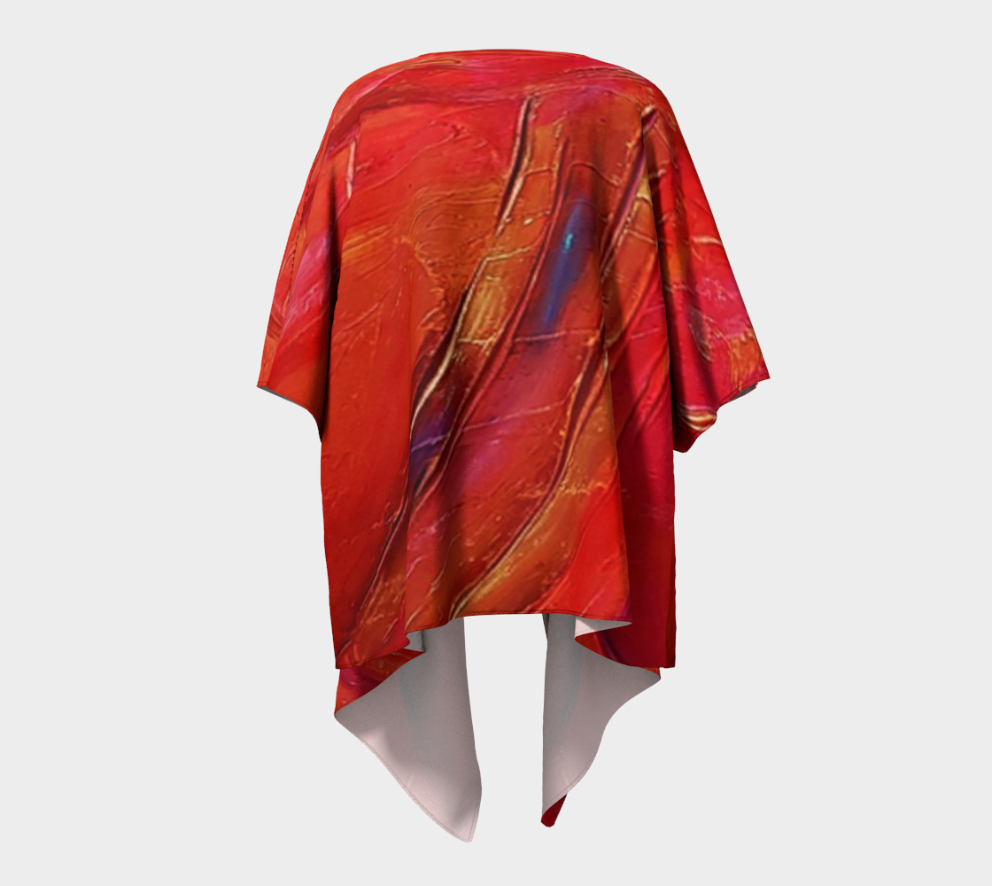 Her Gift is a bright red kimono, with streaks of blue and gold