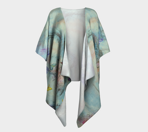 Open image in slideshow, Dovetailing kimono is made of a silk knit fabric with turquoise, yellows, blues and purple doves
