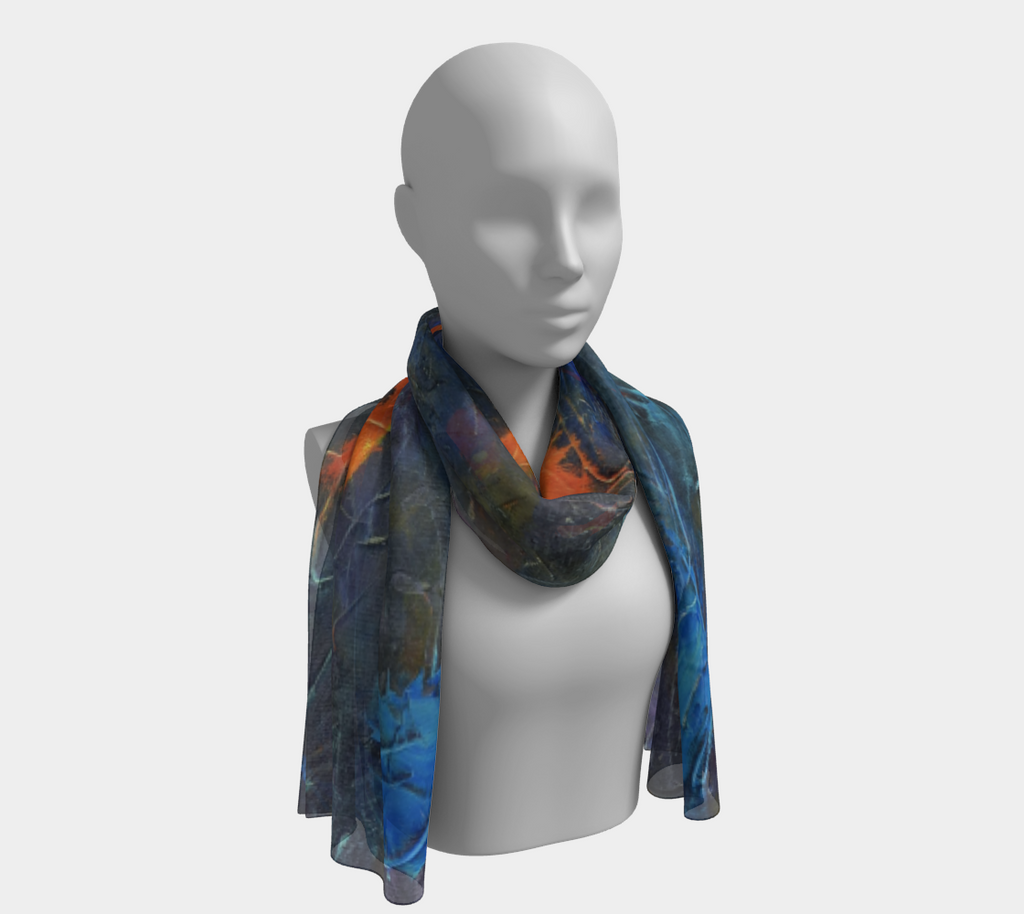 head scarf, art apparel, fashion accessory, silk scarf, womens clothes, blue scarf, fun scarf, koi scarf, orange and blue scarf, headscarf