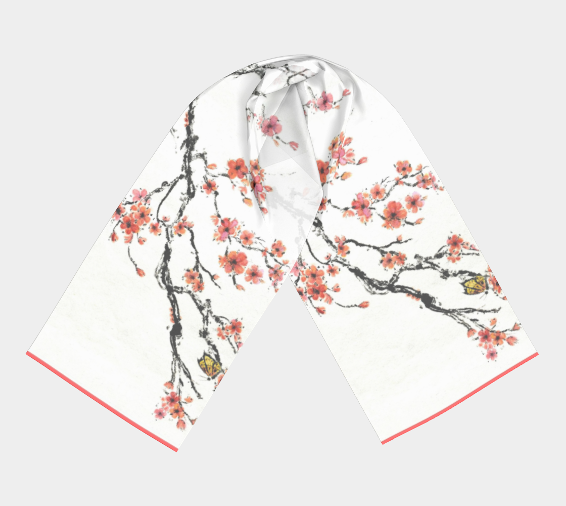 silk scarf, coral, peach, pink, cherry blossoms, apparel