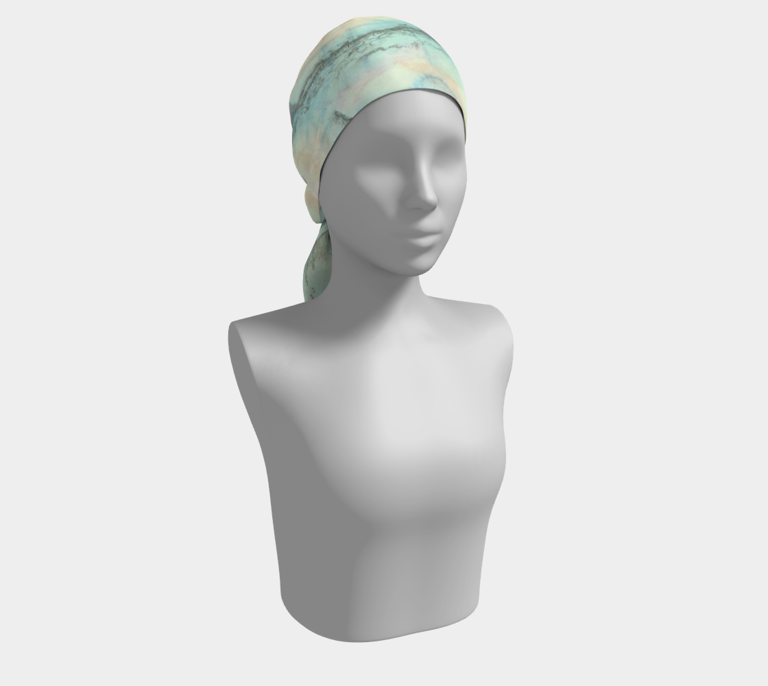 head scarf, art apparel, fashion accessory, silk scarf, womens clothes, turquoise scarf, hair scarf, hair accessory, art based on music, headscarf