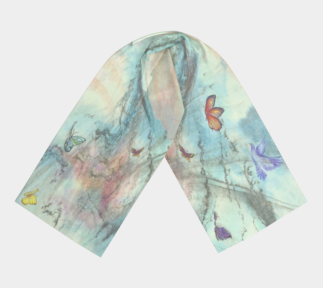 head scarf, art apparel, fashion accessory, silk scarf, womens clothes, turquoise scarf, elegant scarf, butterfly art, dove art