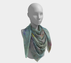 Open image in slideshow, head scarf, art apparel, fashion accessory, silk scarf, womens clothes, turquoise scarf, elegant scarf, headscarf