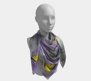 Open image in slideshow, head scarf, art apparel, fashion accessory, silk scarf, womens clothes, butterfly art, elegant art, hair scarf