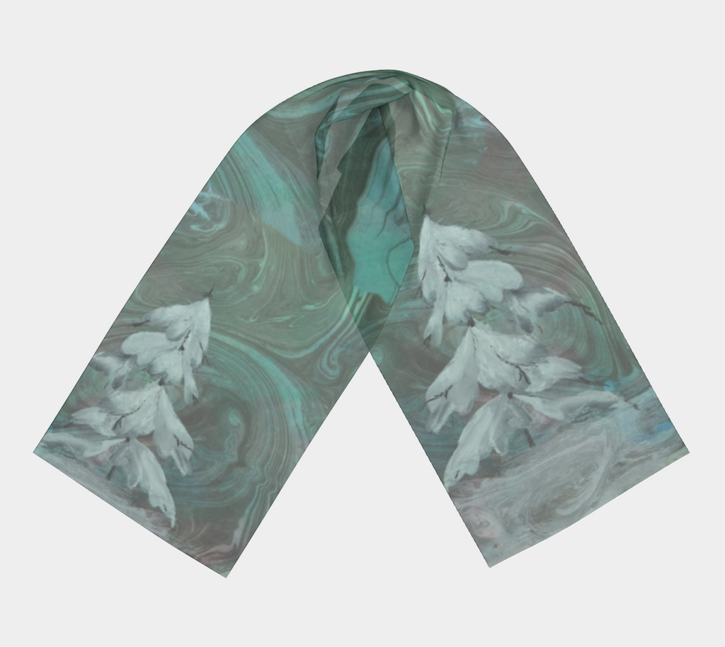 Whirls of Winter, silk scarf