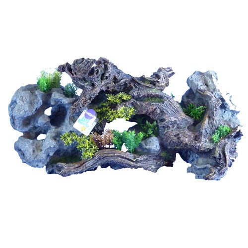 Driftwood With Rock And Plants